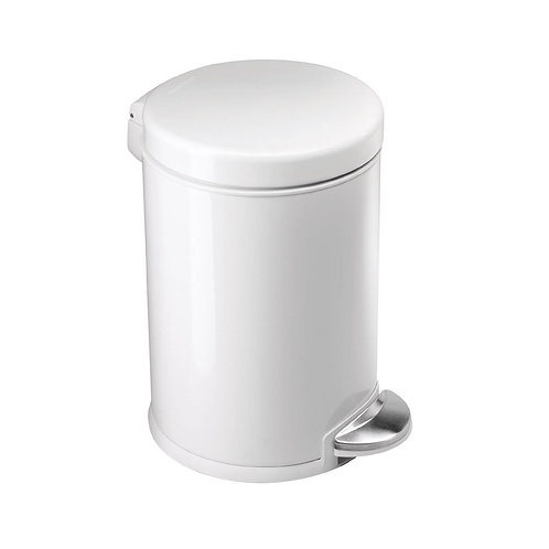 4.5L Compartment Round Pedal Bin Single in White Steel