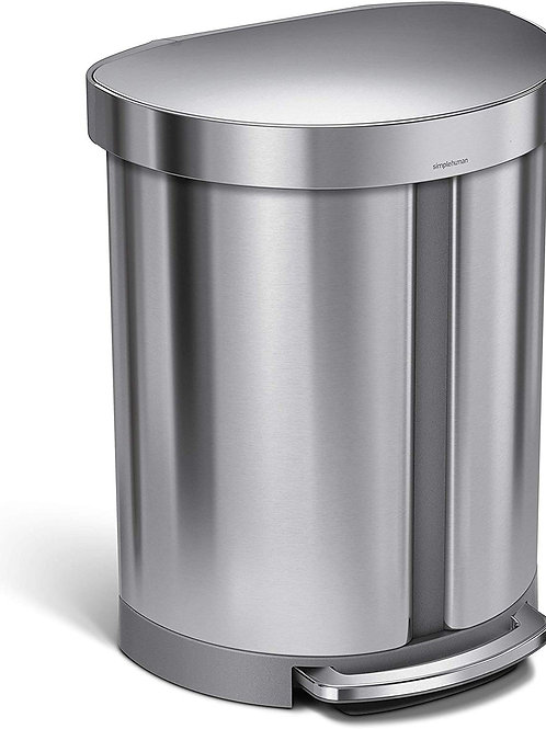55L (33/22) Dual Compartment Semi-Round Pedal Bin in Brushed Stainless Steel