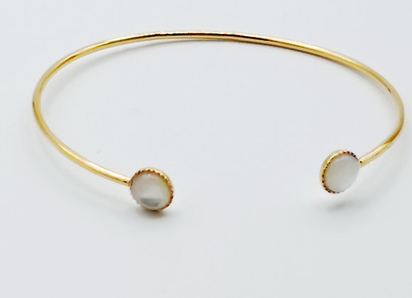Bracelet jonc plaqué or - Nacre