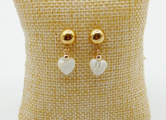 Boucles d'oreilles plaqué or - boules et coeur de nacre