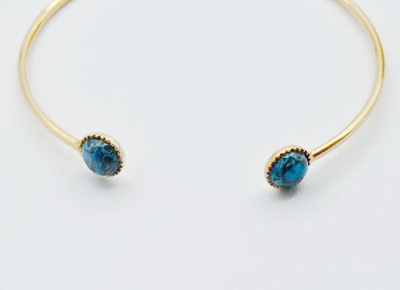 Bracelet jonc plaqué or - crazy blue