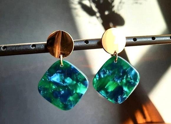 Boucle d'oreilles résine bleu verte