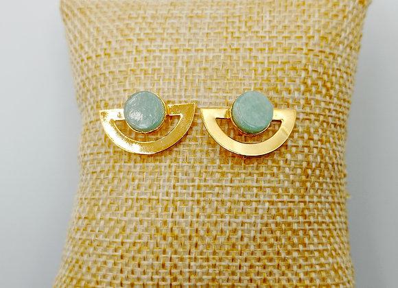 Boucles d'oreilles plaqué or - Amazonite