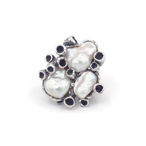 Anello Anemone con le perle
