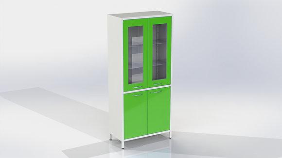 Шкаф ШМе-2см со стеклом в металлической рамке