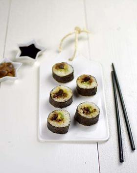 Sushi met shiitake-misovulling