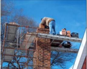 Safeway rebuilding a chimney