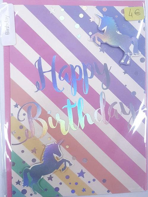 Carte d'anniversaire - Licorne