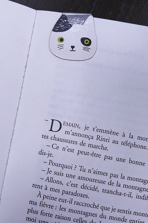 Marque-page chat gris & blanc