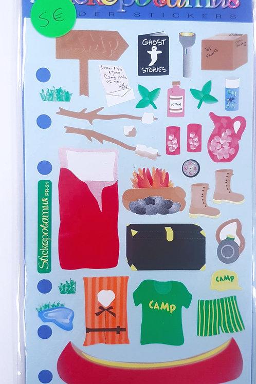 Planche de stickers - camping