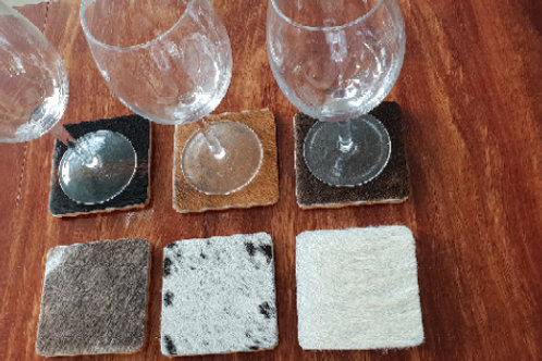Square Cowhide Coasters - Set of 6