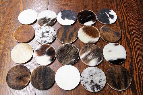 Round Cowhide Coasters - Set of 6