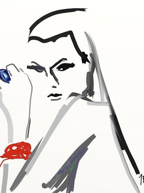 Girl 1 Fashion Illustration, Fashion Print,  Fashion Poster, Fashion Gift, Fashi