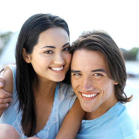 Couple with bright white smile