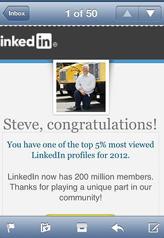 The results from my successful social media marketing strategy awarded Steve with having one of the top 5% most viewed LinkedIn profiles for 2012