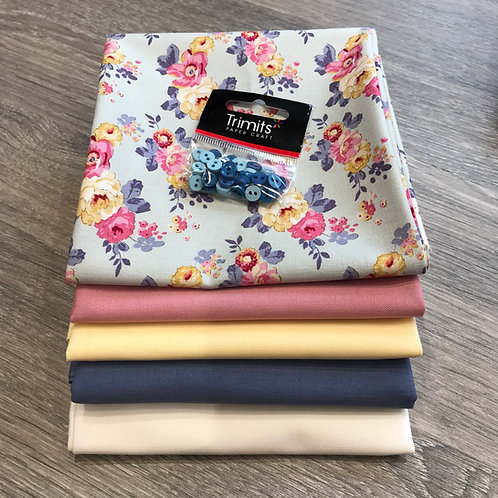 Tilda Pauline FQ and 0.5m bundle with buttons