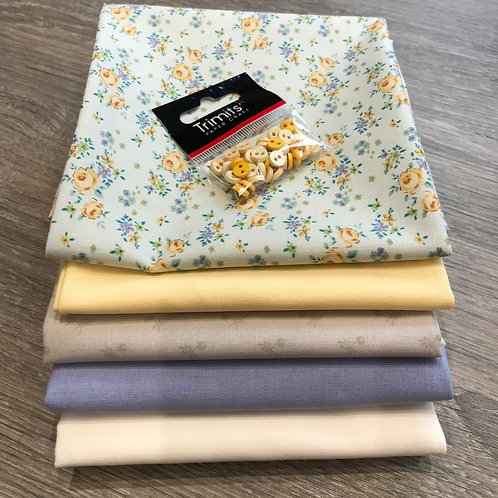 Tilda Gracie FQ and 0.5m bundle with buttons