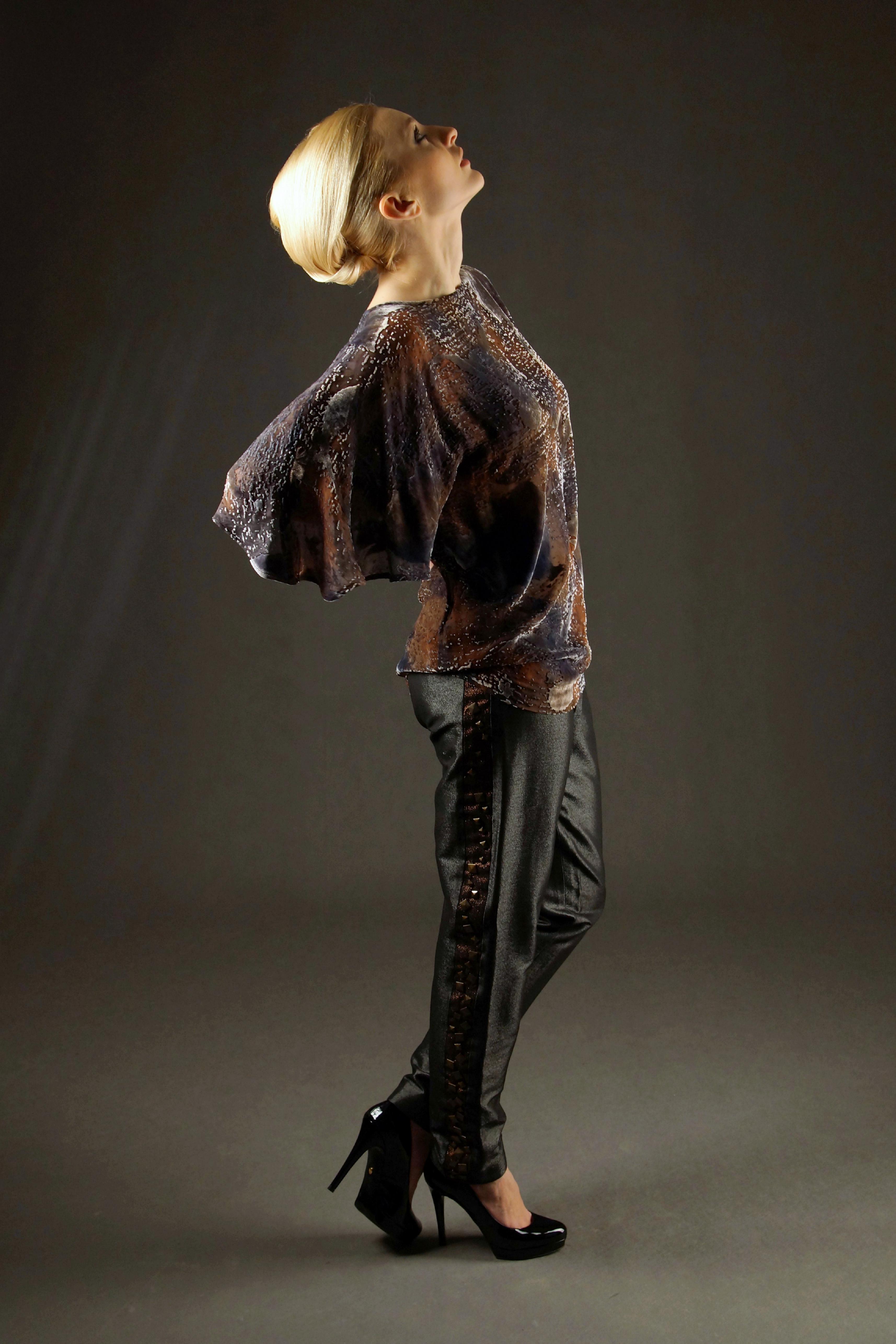 Jedwabna bluzka i spodnie
