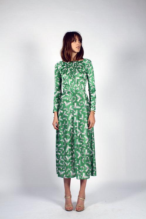 Pleated Neckline Classic Pintuck Dress