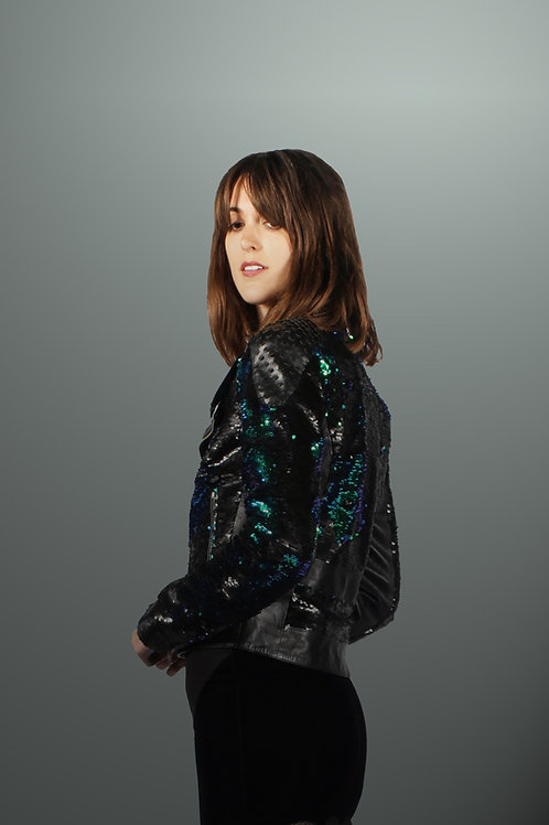 Morv Sequin & Lasercut Biker Jacket