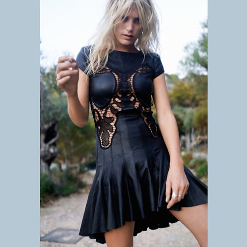Debbie Leather and Lace Dress