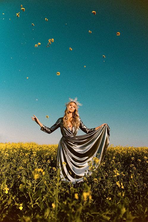 Eva Metallic Wrap Dress Pre-Order