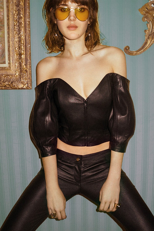 Evita Leather Crop top Pre Order