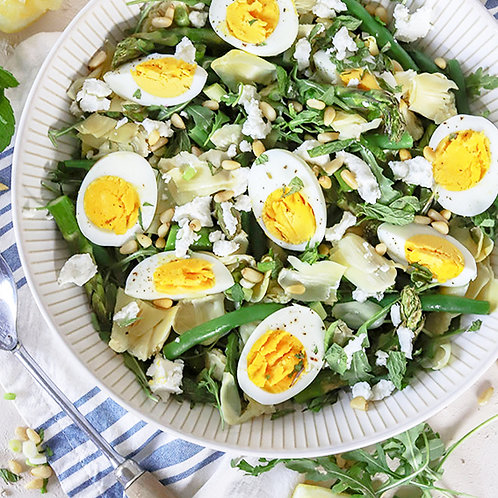 ARTICHOKE SALAD WITH GOATS CHEESE & EGGS - FOR 4 PEOPLE