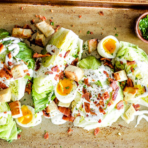ICEBERG WEDGES WITH BLUE CHEESE, EGGS & BACON - FOR 4 PEOPLE