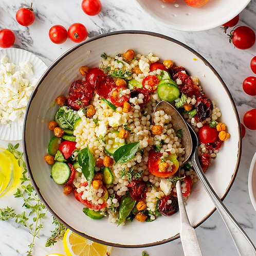 CHERRY TOMATO PEARL COUSCOUS SALAD WITH FETA  - FOR 4 PEOPLE