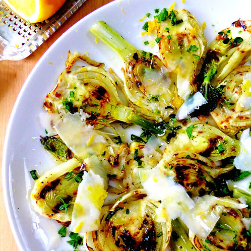 GILLED FENNEL SALAD WITH FRESH HERBS AND PARMESAN - FOR 4 PEOPLE
