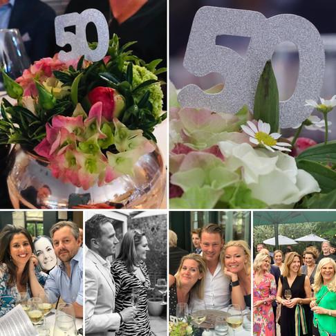 Flower arrangements for a double 50th party