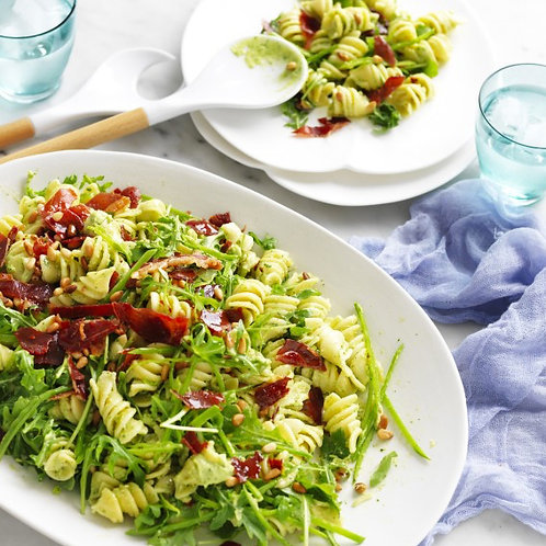 PASTA SALAD WITH CRISPY PARMA HAM AND OUR DAIRY FREE AVOCADO DRES - FOR 4 PEOPLE