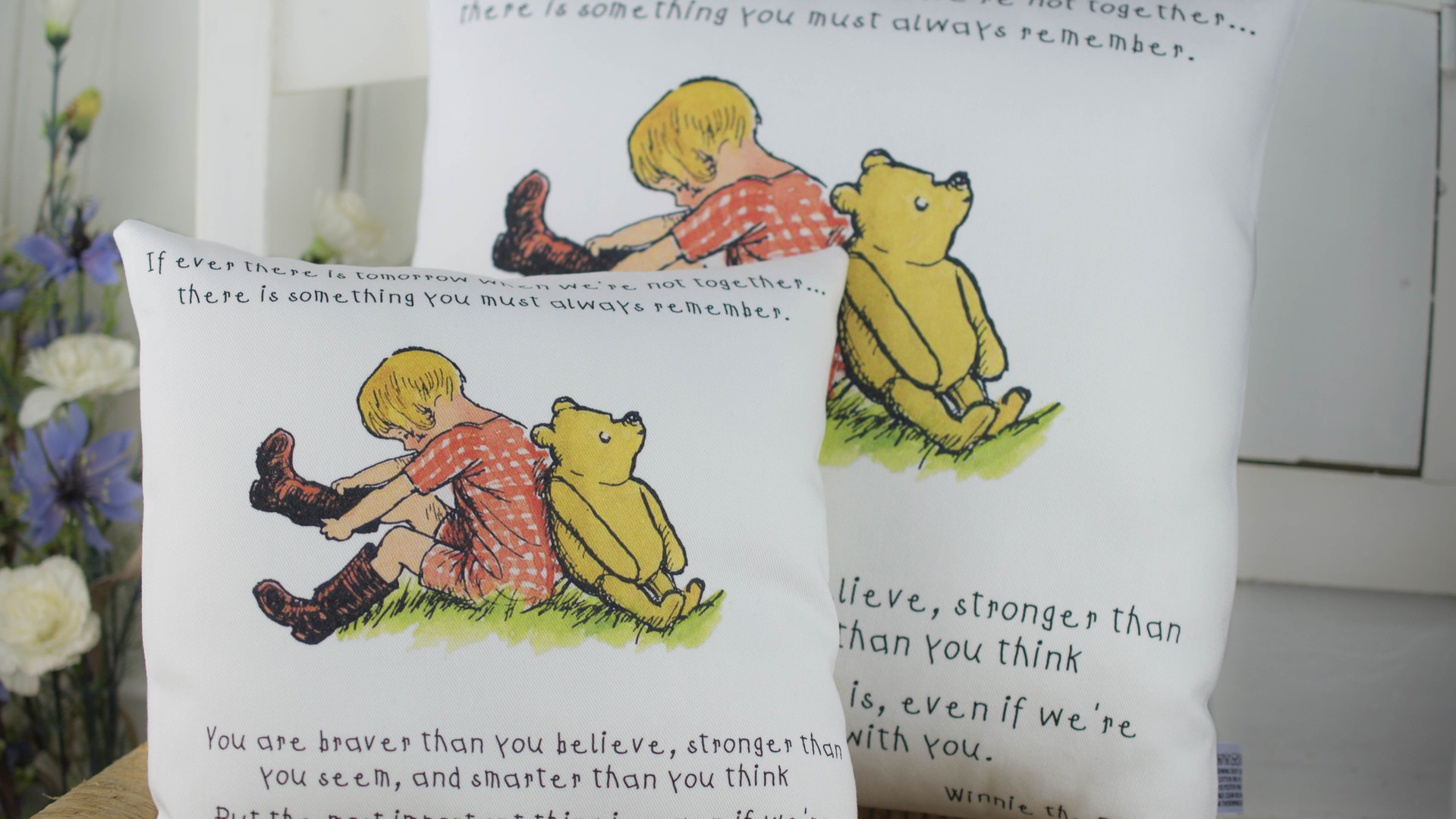 Christopher Robin & Pooh Quote Cushion