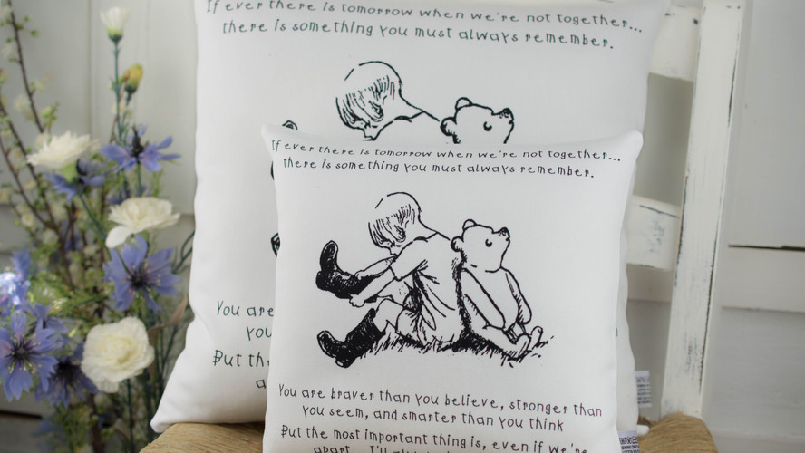 Christopher Robin & Pooh BnW Quote Cushion
