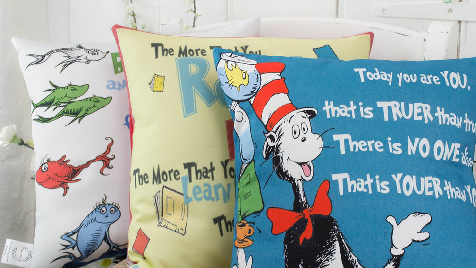 Dr Seuss Cushion Pillow Gift Set of 3 Cat in the Hat Quote