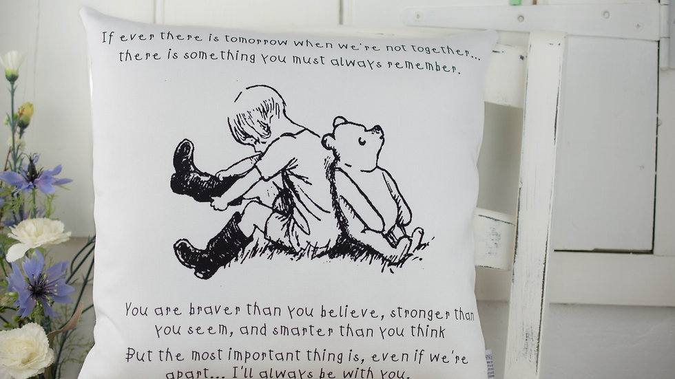 Black & White Pooh Quote Cushion