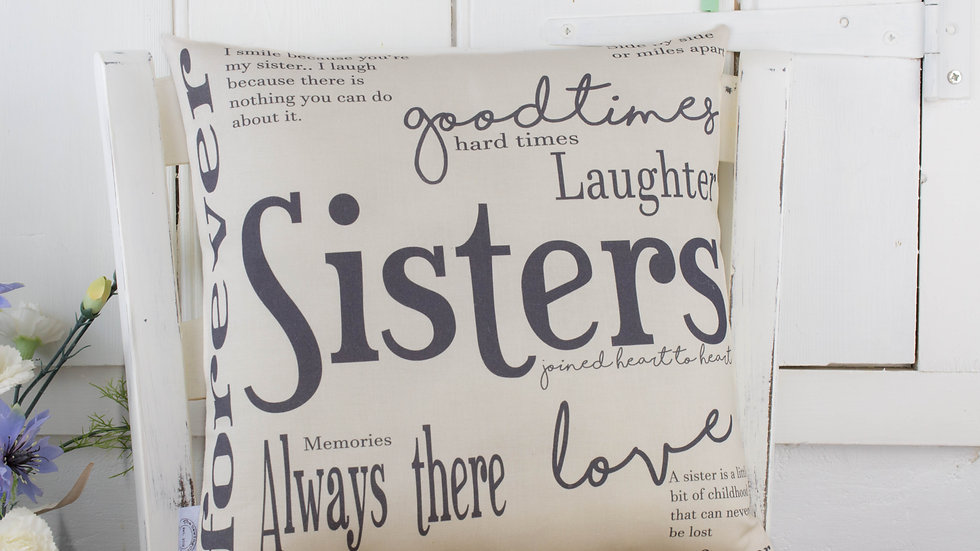 Sisters Gift Quote Word Cushion