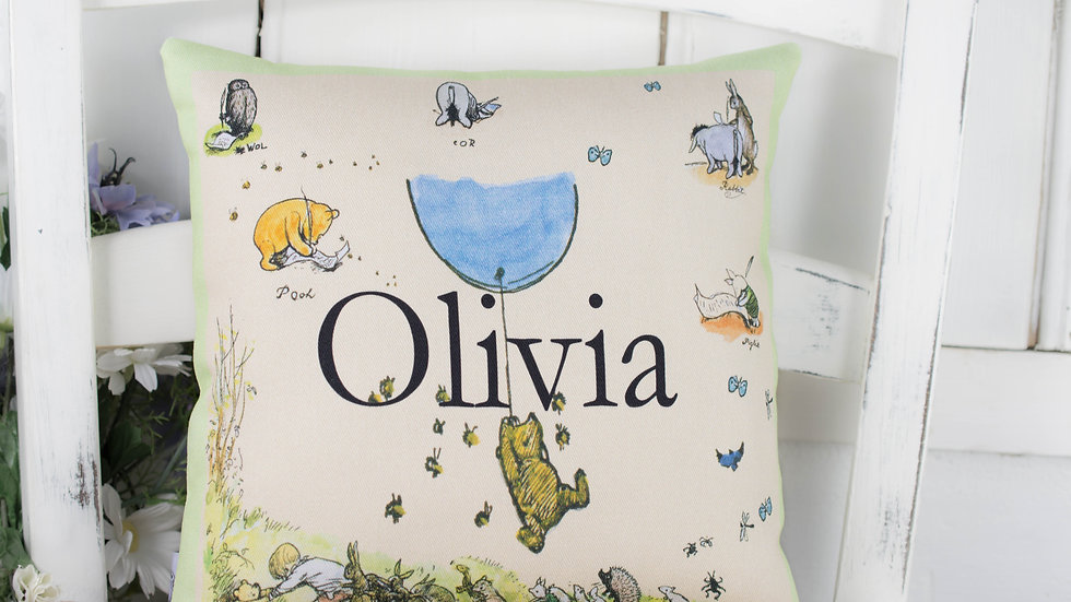 Olivia Personalised Pooh Mini Cushion