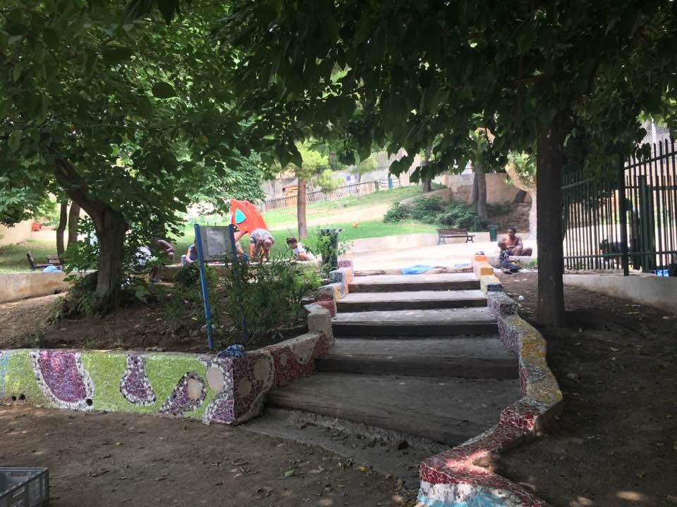 fresque en mosaïque jardin Spinelly