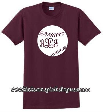 """Baseball """"Initials"""" Tee"""