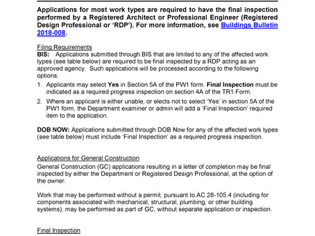 Filing Requirements for Applications Requiring Final Inspections by Registered Design Professional