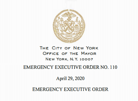 Emergency Executive Order 110 with Zoning Resolution Implications