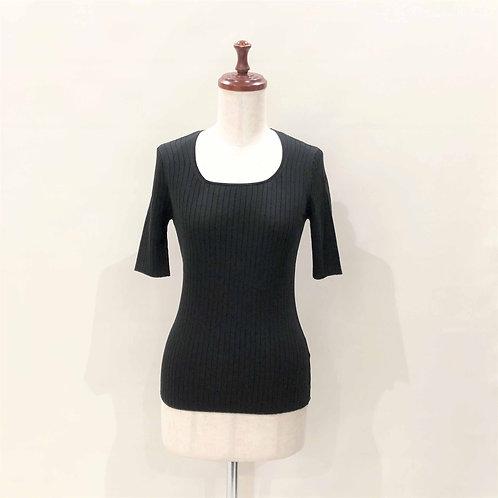 リブ半袖セーター