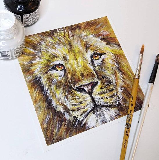 Lion Print (8x8 Inches)