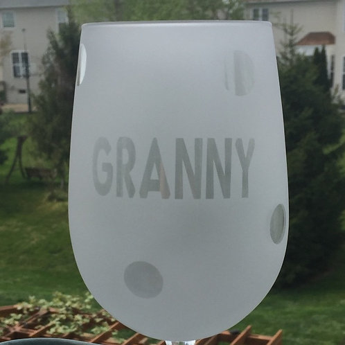 Granny glass with polka dots