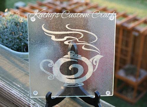 Tea Kettle design cutting board/trivet