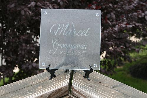 Groomsman design cutting board/trivet