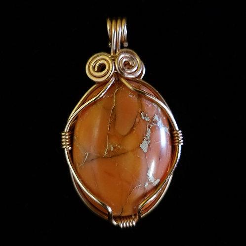 Elegant Copper and Orange Jasper Pendant