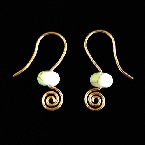 Copper Spiral Earrings w/ White Stone